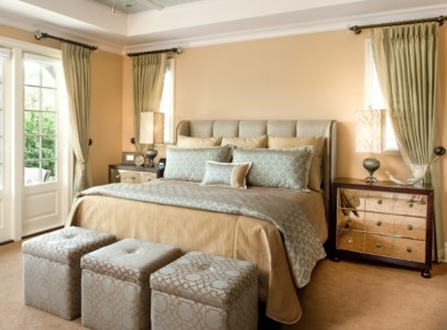 master bedroom with fabrics